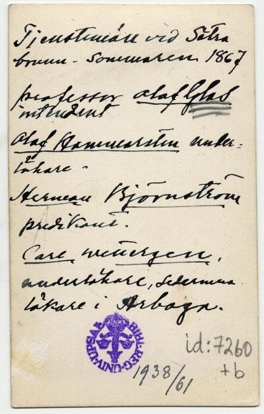 Sätra Brunn. Tjänstemän vid Sätra Brunn sommaren 1867. Text.jpg