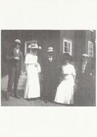 Sätra Brunn. Personal. Folke Molin, Frk Ahlberg, Gunnar Boman, Elisabeth Sandelius, Ivan Syk. Årtal 1908..jpg